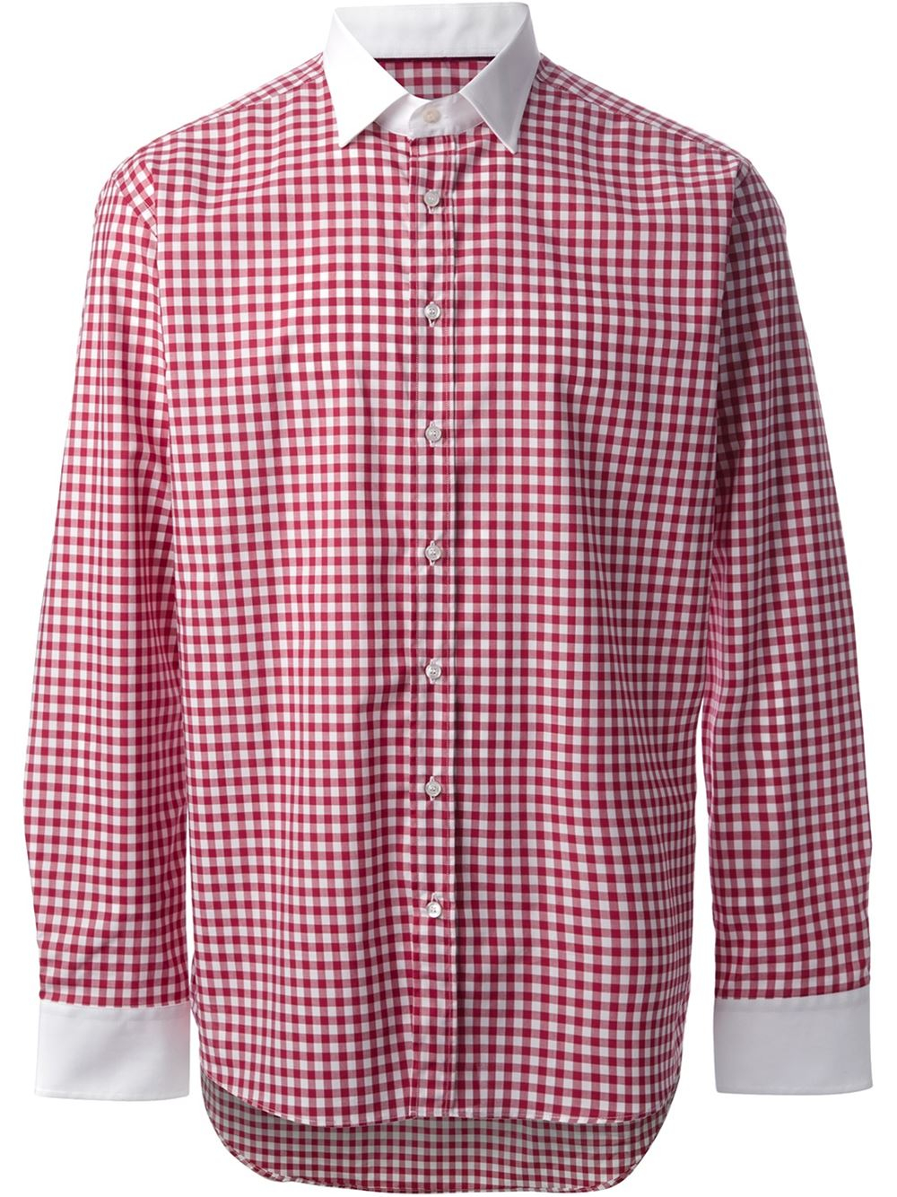 Etro gingham print shirt in red for men lyst for Red and white gingham shirt women s