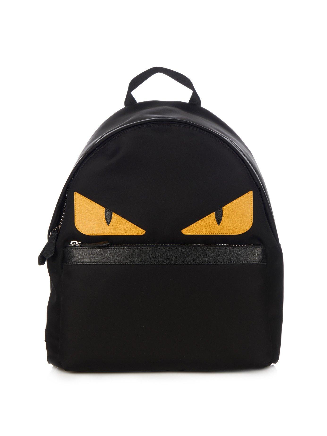 Fendi Bag Bugs Nylon And Leather Backpack In Black For Men