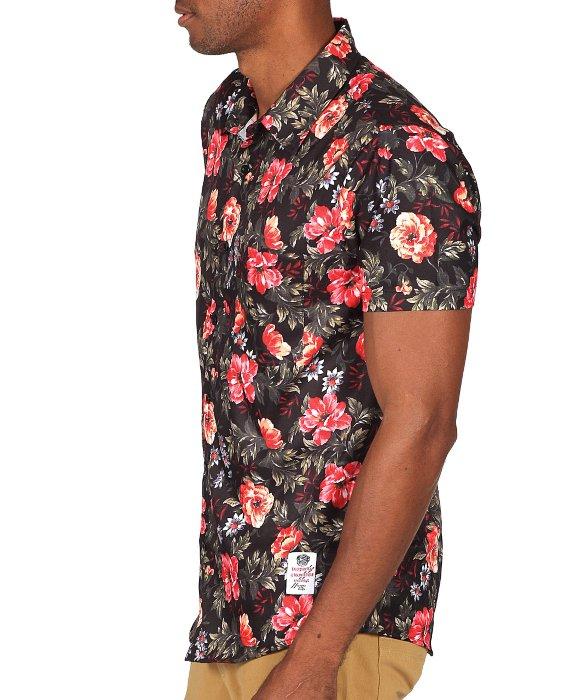 Lyst something strong men 39 s floral print short sleeve for Patterned dress shirts for men