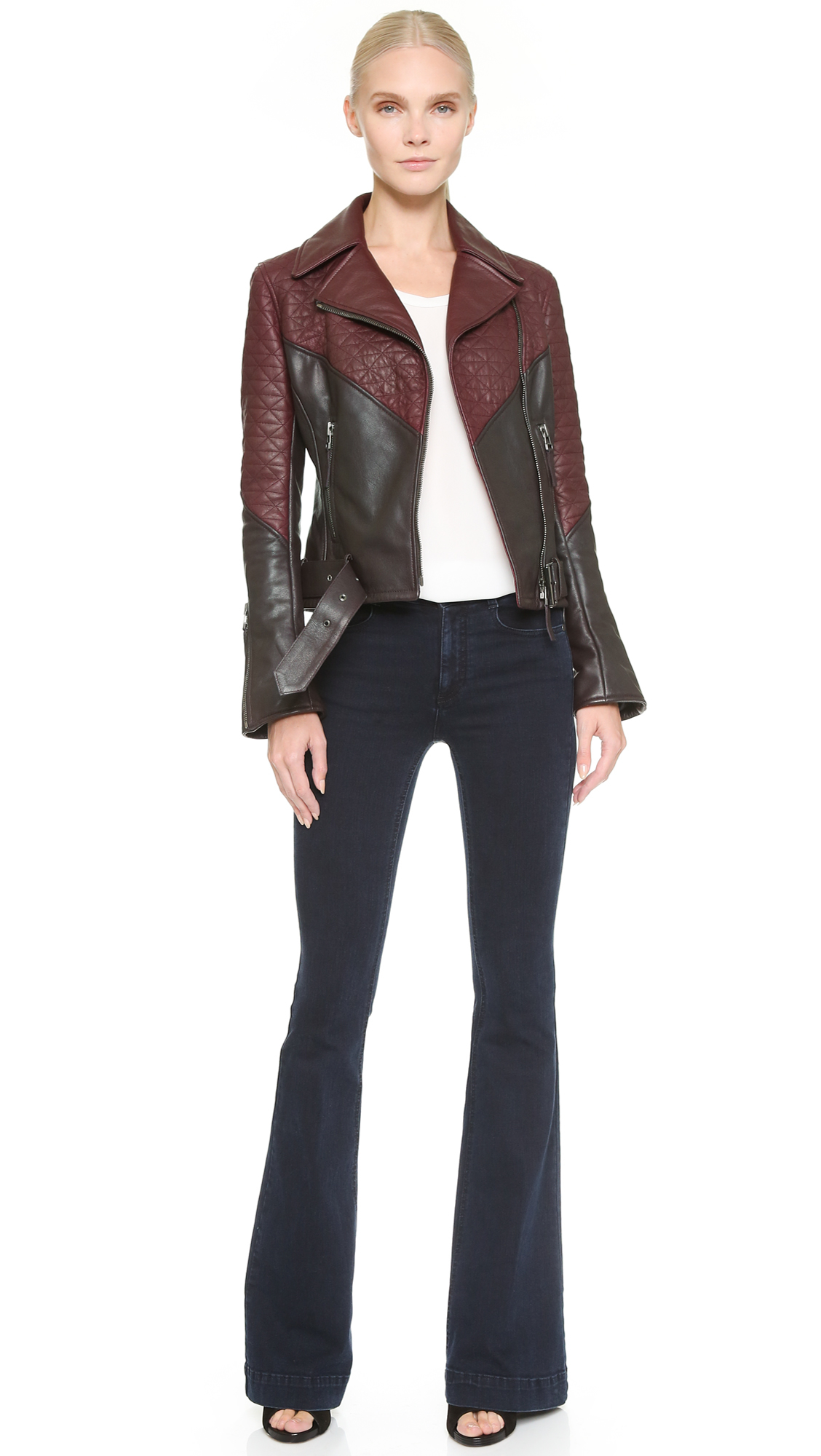 Maiyet Quilted Moto Jacket Brown Burgundy In Brown Lyst