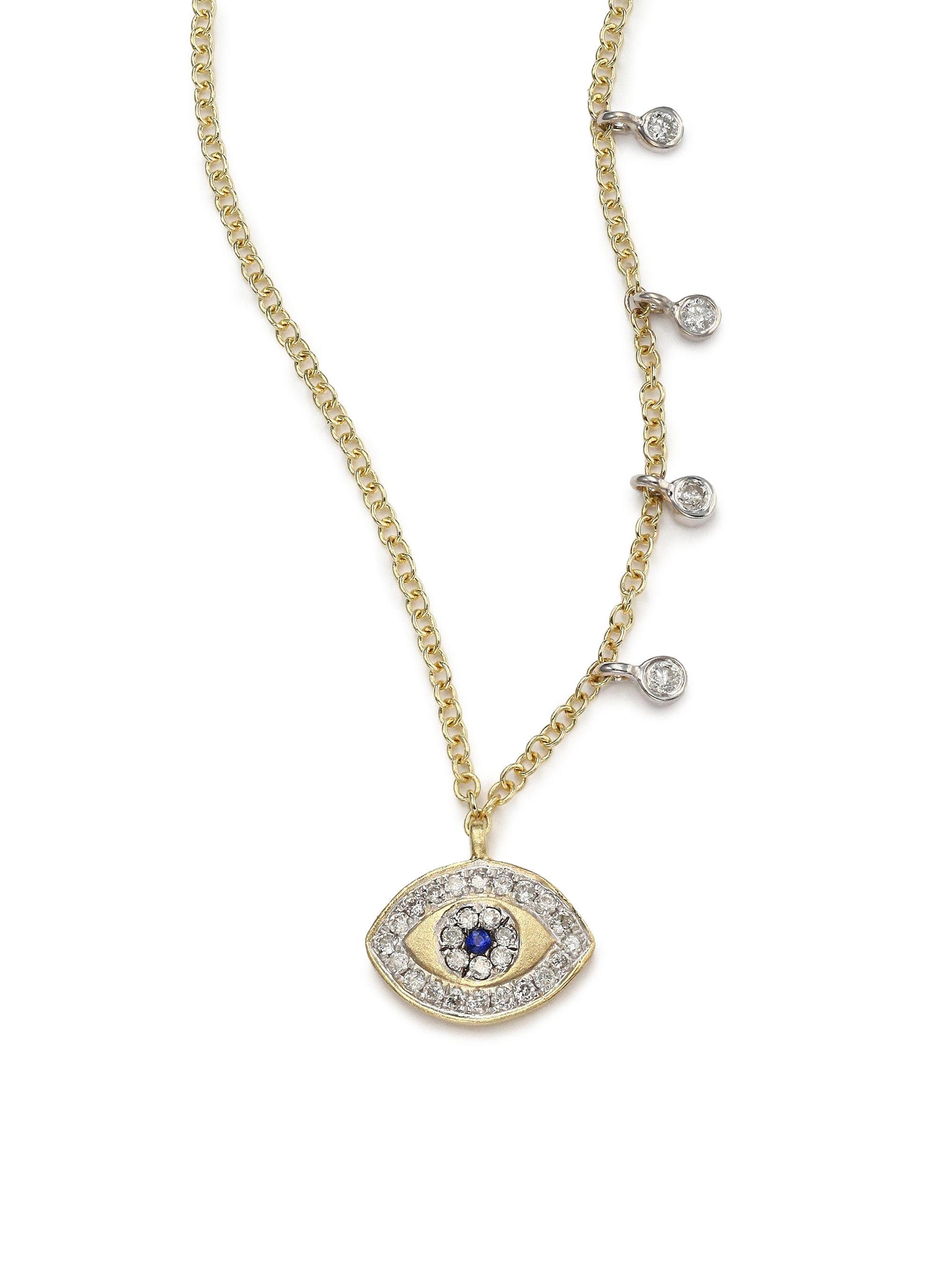 Meira t Diamond Blue Sapphire & 14k Yellow Gold Evil Eye Pendant Necklac
