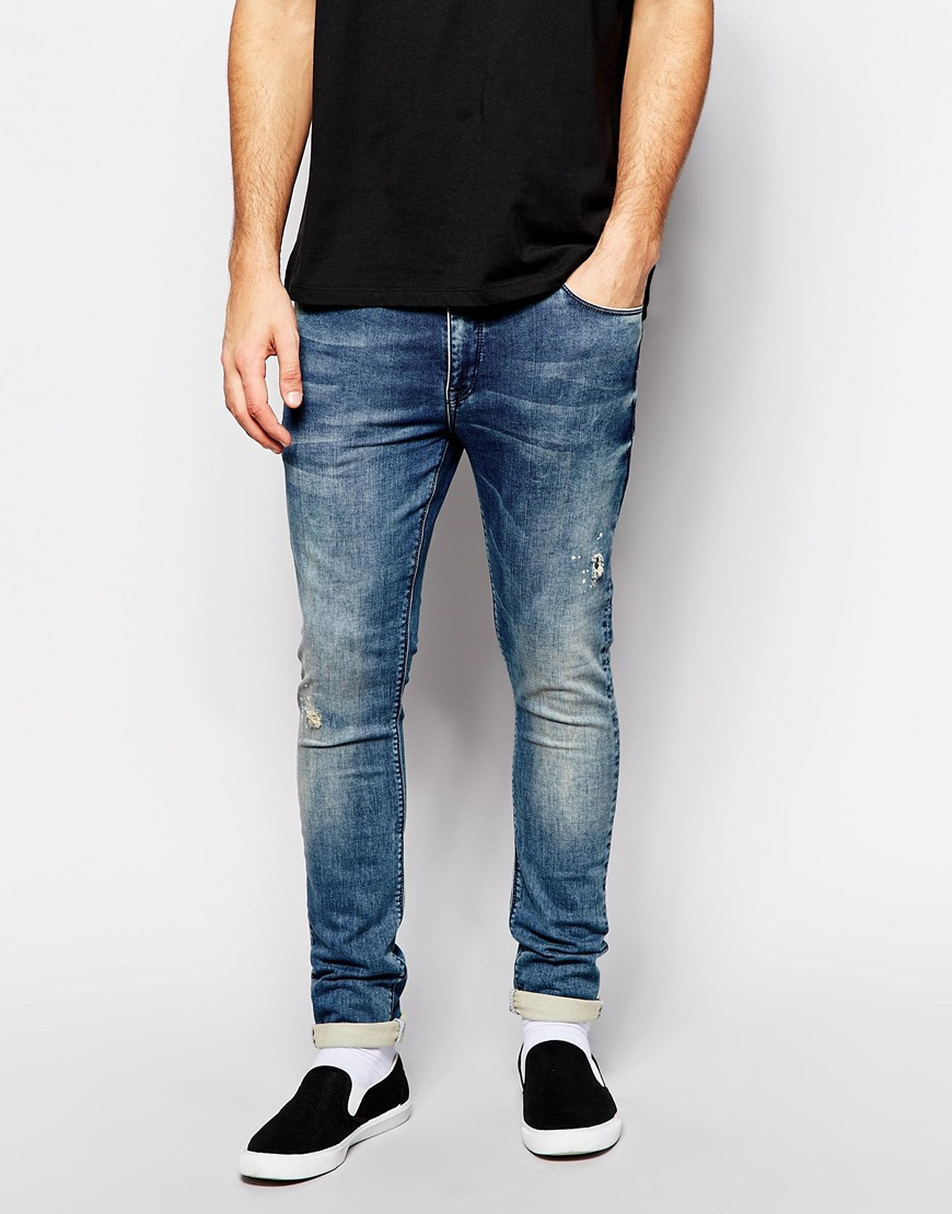 Super Skinny Jeans In Mid Wash - Dirty blue Asos wIfvni