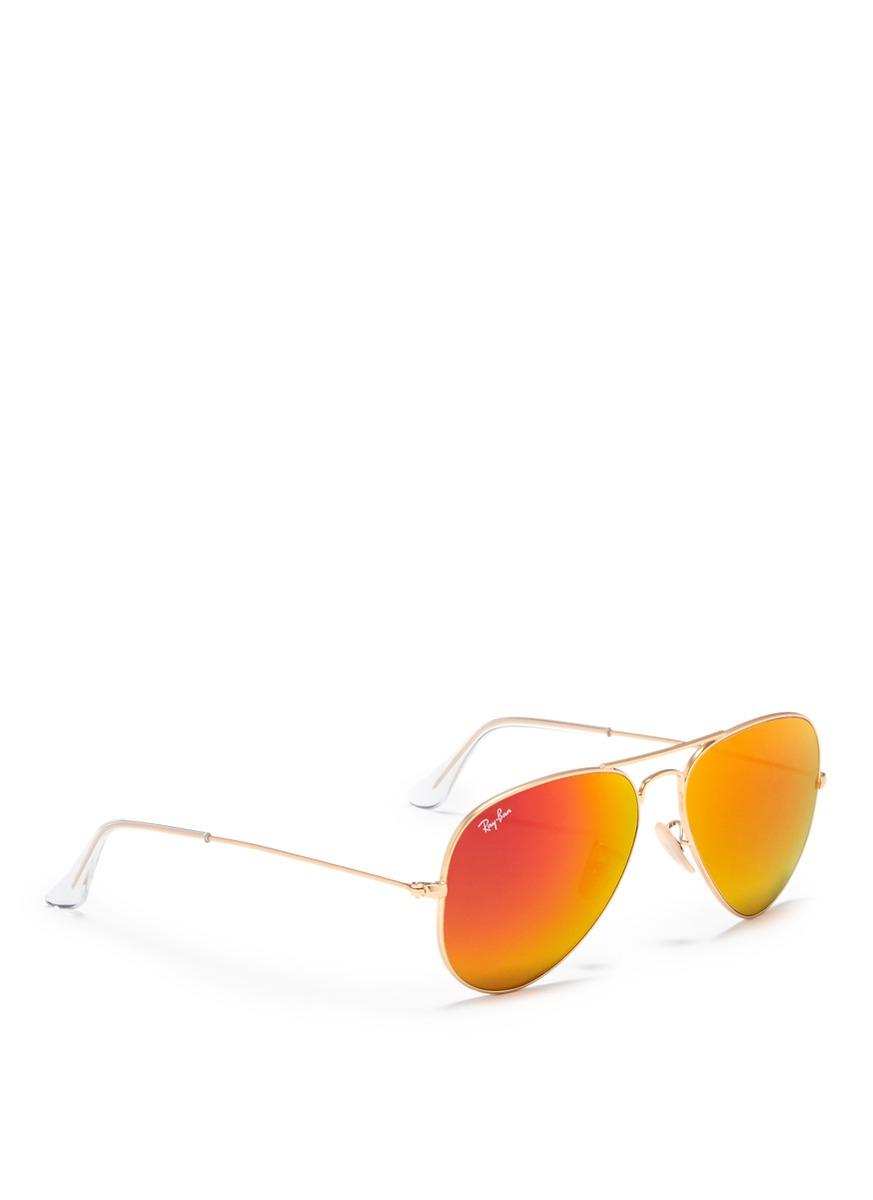 ray ban aviator orange frame