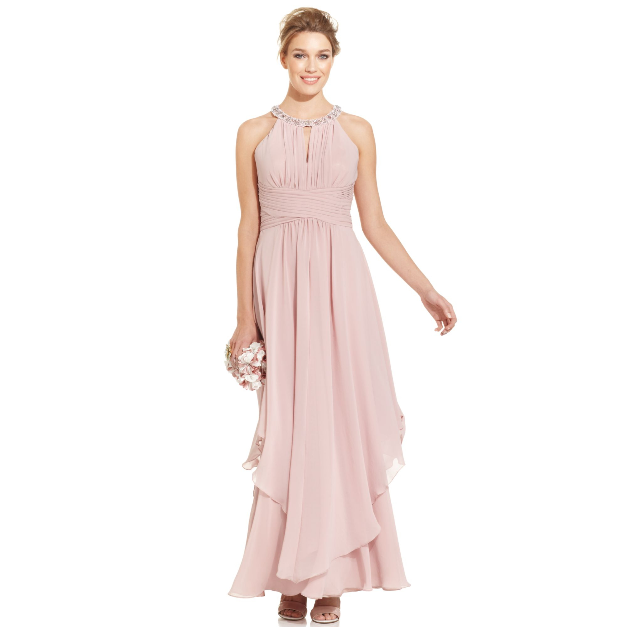 Lyst - Eliza J Sleeveless Jewelneck Halter Gown in Pink