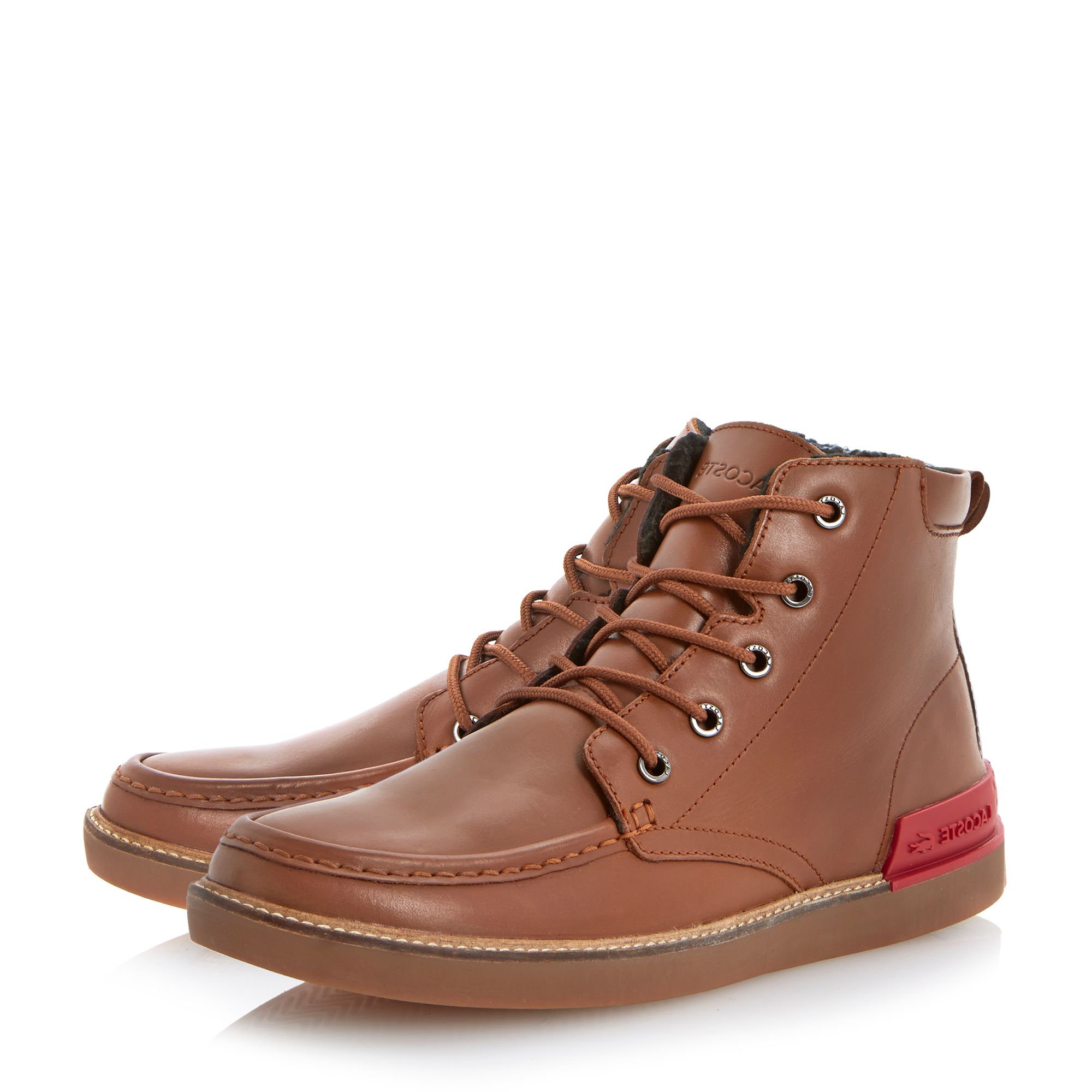 lacoste zinder lace up warm lined apron boots in brown for