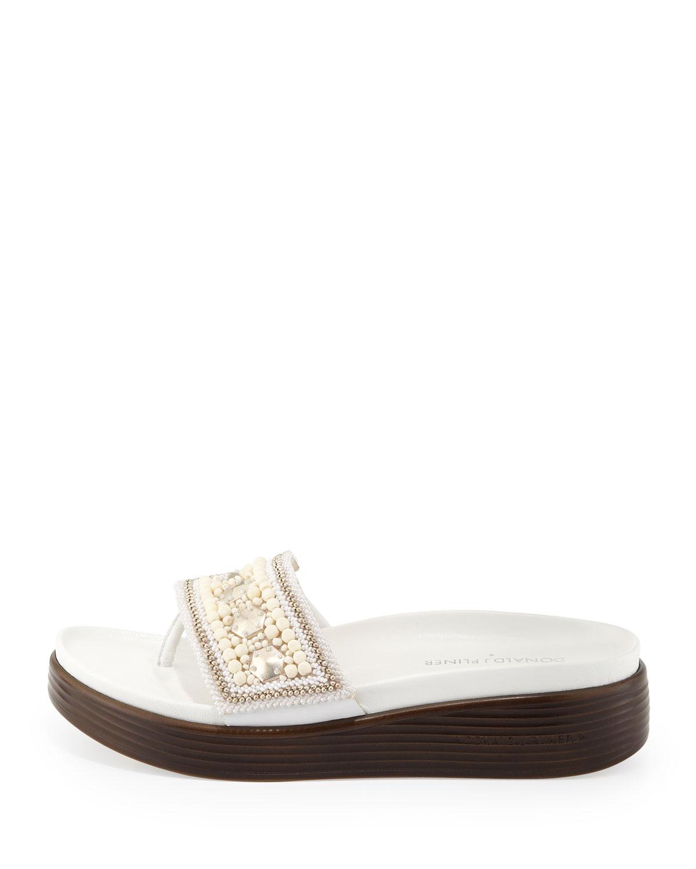 fcdc74c2b66 Lyst - Donald J Pliner Fifi Beaded Platform Sandal in White