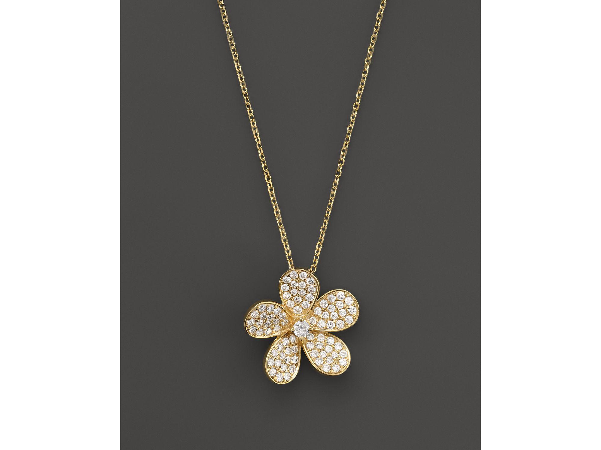 Kc Designs Diamond Flower Pendant Necklace In 14k Yellow