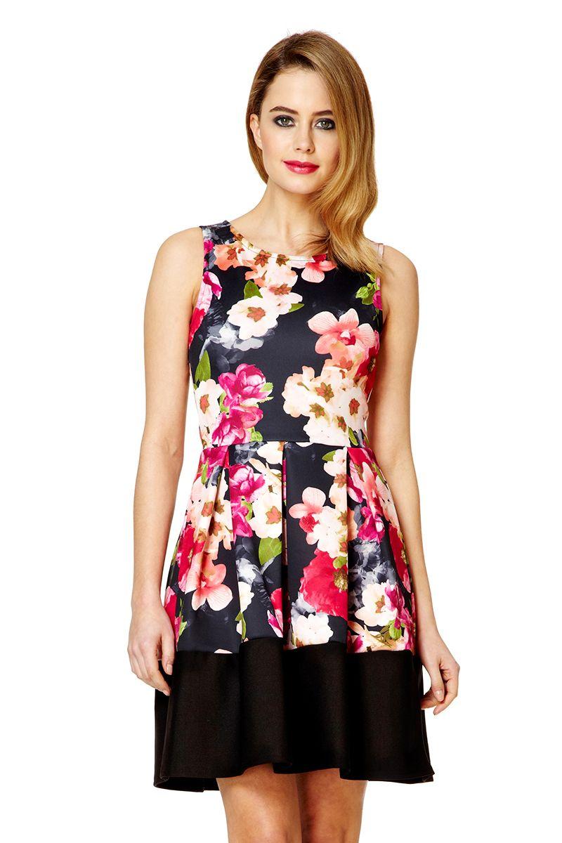 Quiz Pink Marcella Flower Print Skater Dress In Pink Lyst