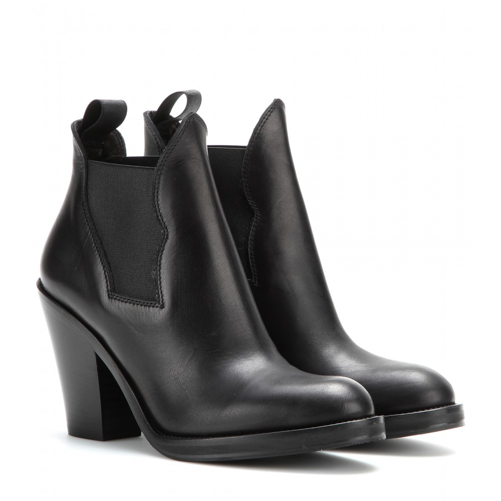 Acne Studios Star Leather Ankle Boots in Black