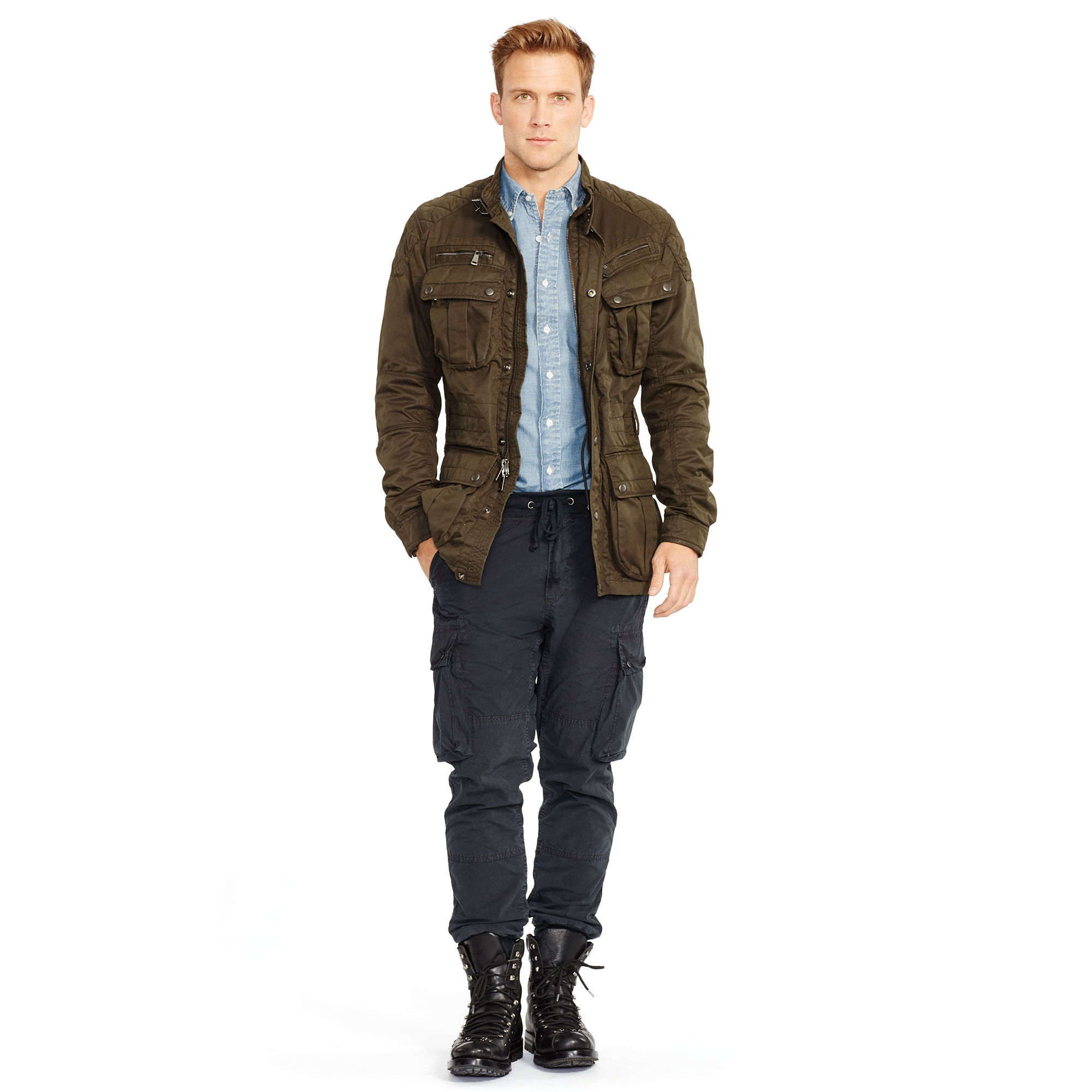 Polo Ralph Lauren Belted Moto Jacket In Natural For Men
