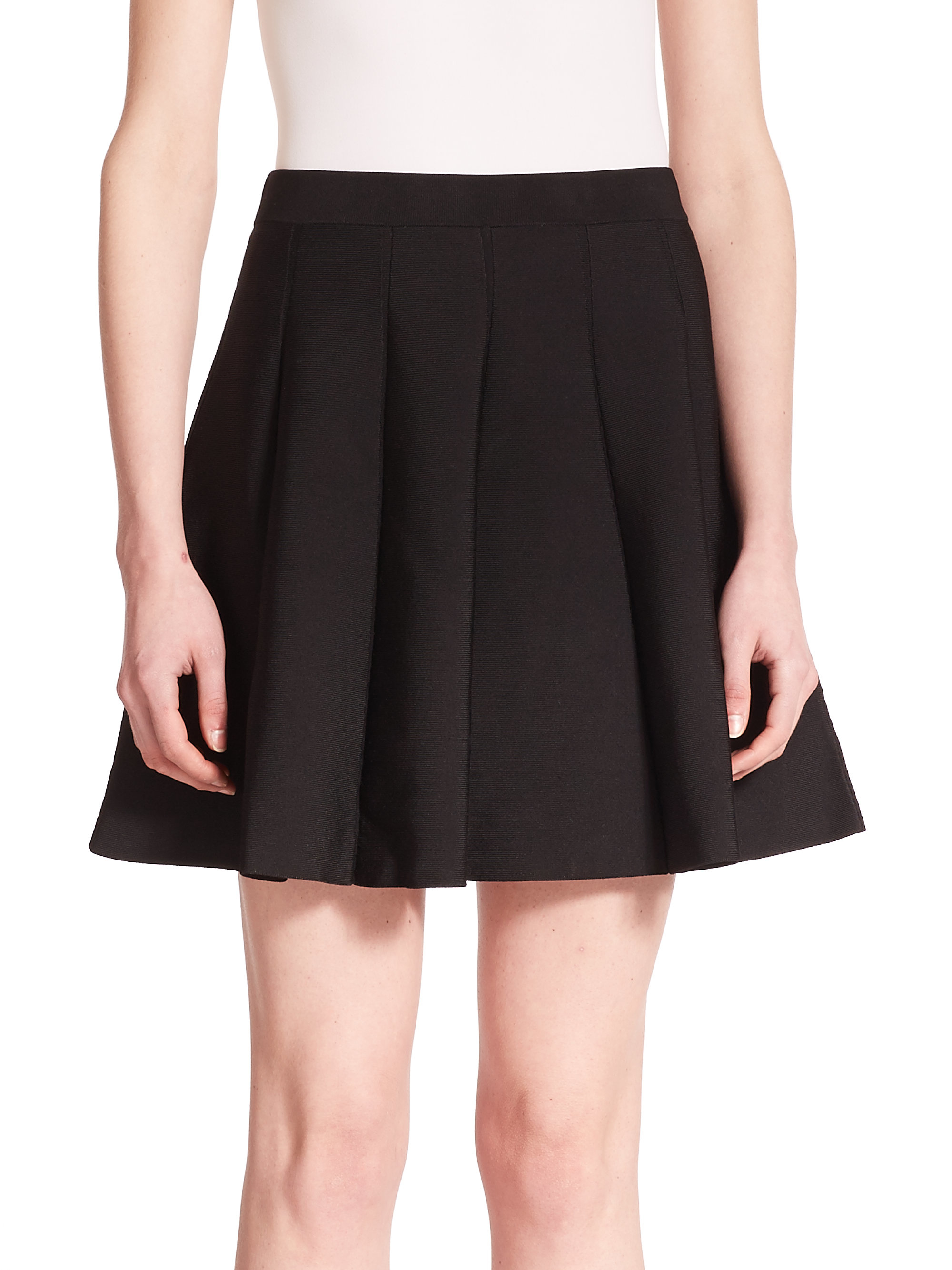 zoey pleated knit skirt in black lyst