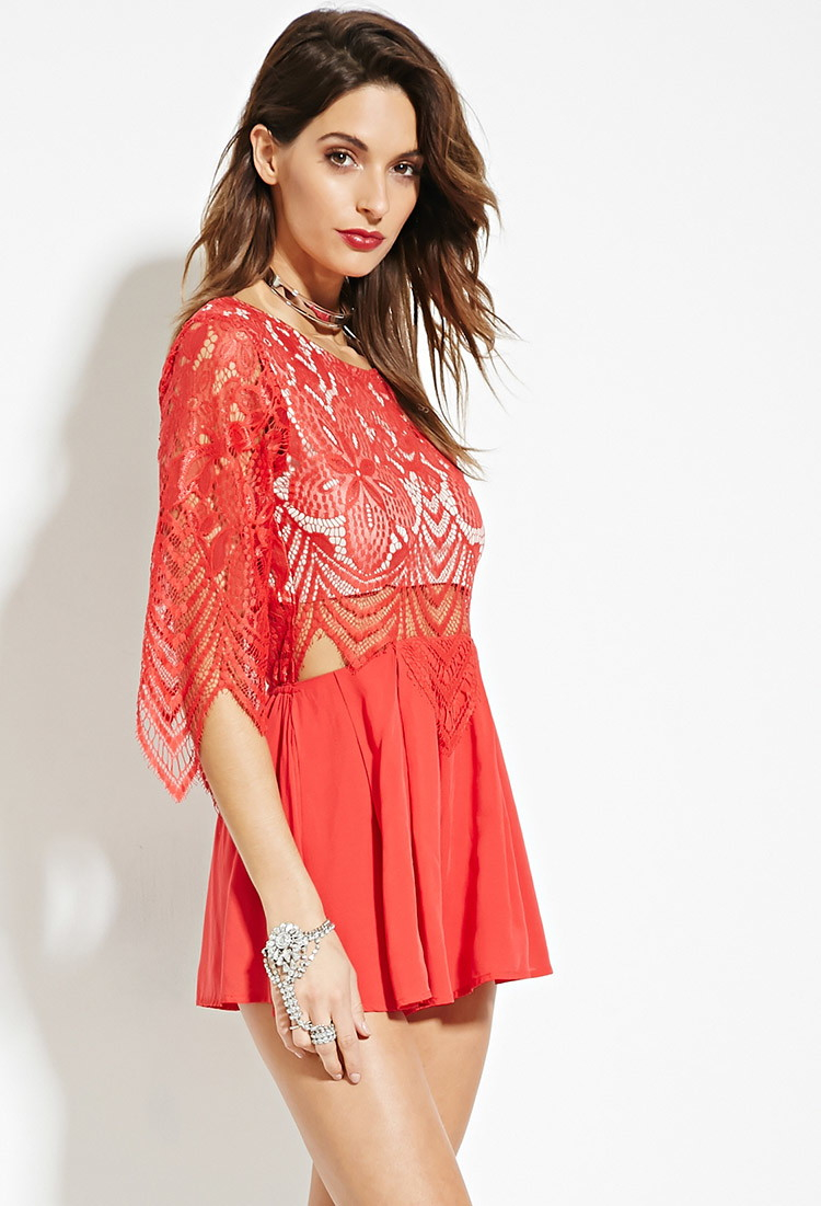 61cddc9f145 Lyst - Forever 21 Lovecat Sheer Eyelash Lace Romper in Red