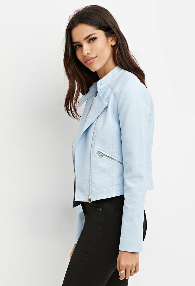 Forever 21 Faux Leather Moto Jacket In Blue Lyst
