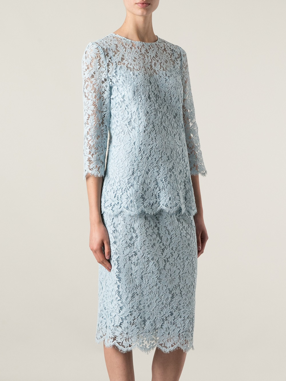 Lyst Dolce Amp Gabbana Floral Lace Dress In Blue