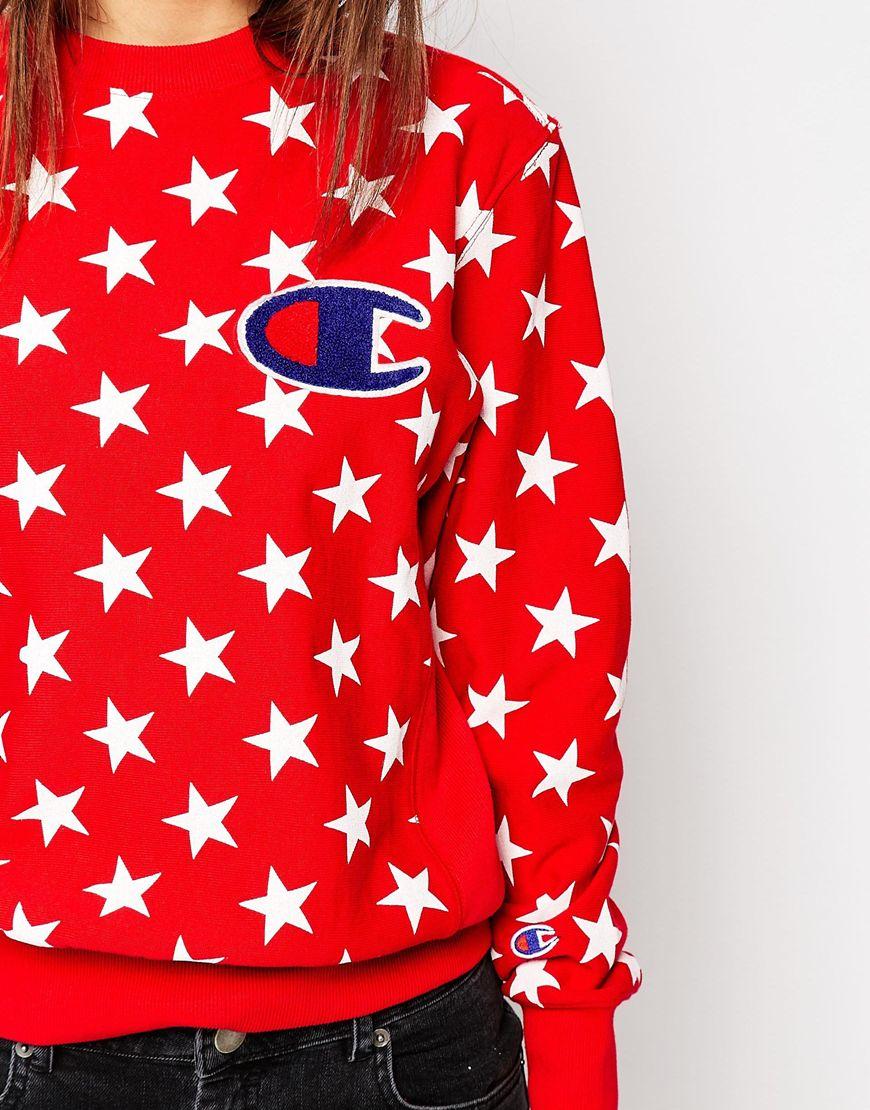 2ece74e15d83 Lyst - Champion Oversized Boyfriend Sweatshirt In All Over Star ...