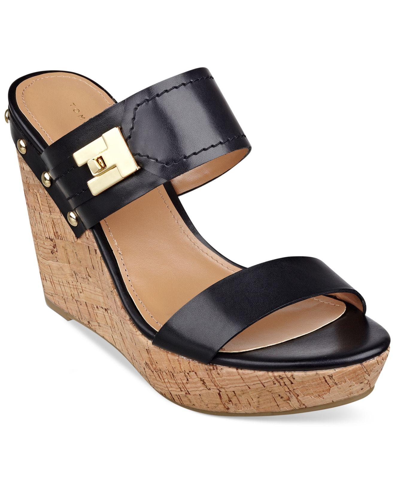tommy hilfiger women 39 s madasen platform wedge sandals in black lyst. Black Bedroom Furniture Sets. Home Design Ideas