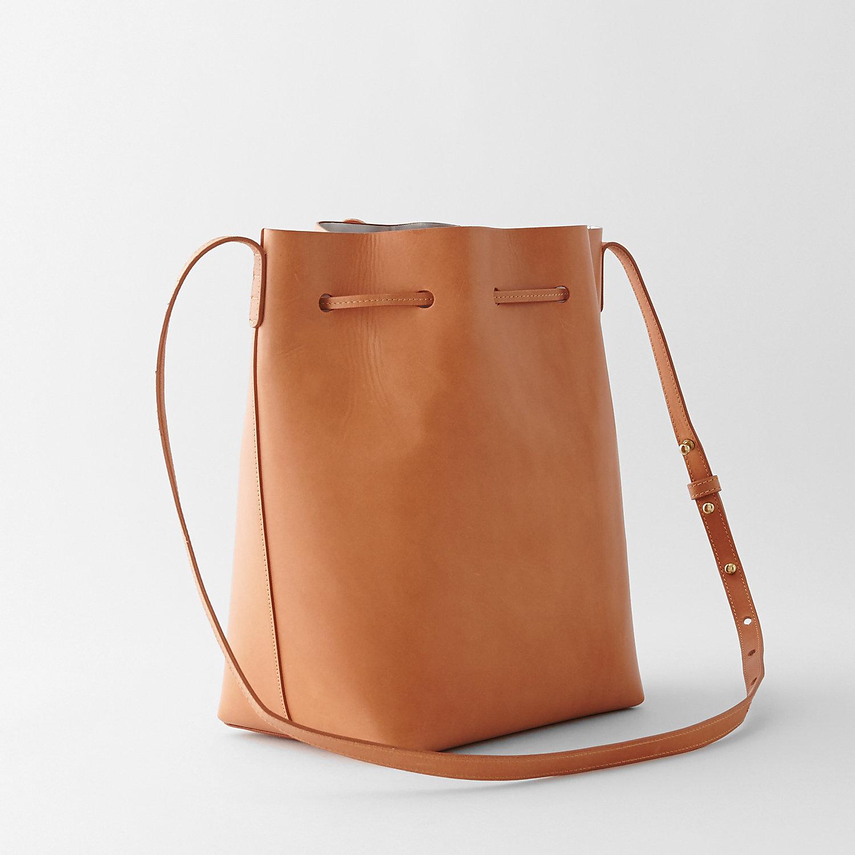 mansur gavriel bucket bag in brown cammello silver lyst. Black Bedroom Furniture Sets. Home Design Ideas