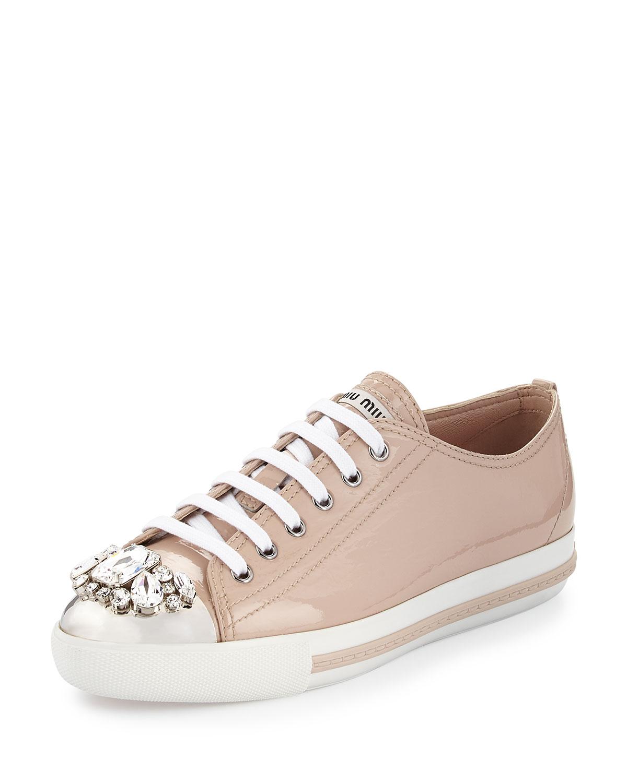 Miu Miu Patent Crystal Cap-Toe Sneaker