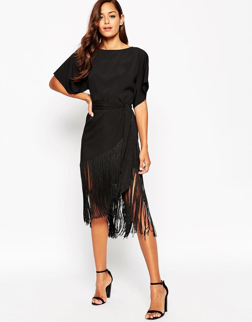 Asos petite t shirt fringe midi dress in black lyst for Midi shirt dress black