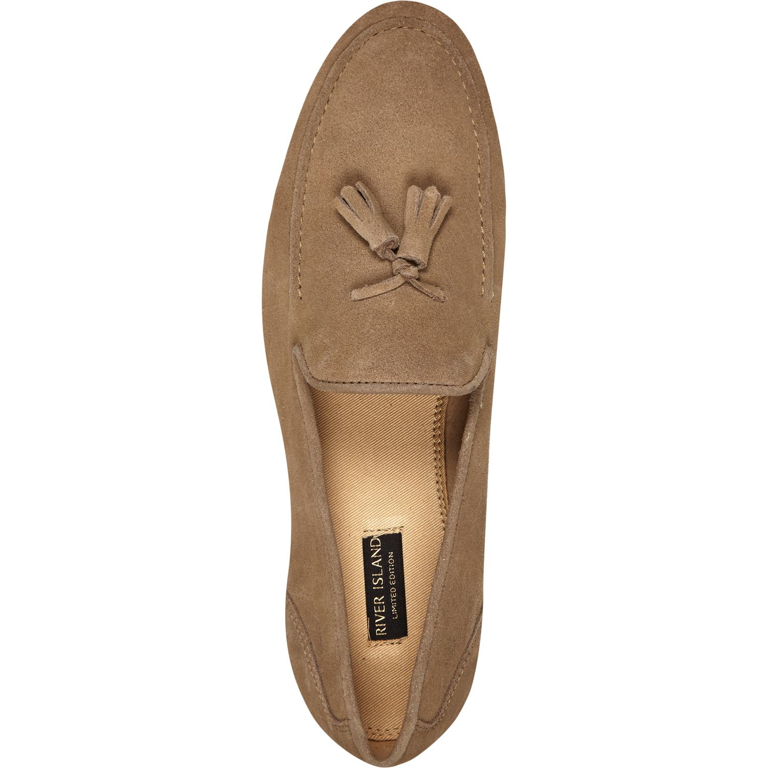 River Island Stone Suede Tassel Loafers in Natural for Men