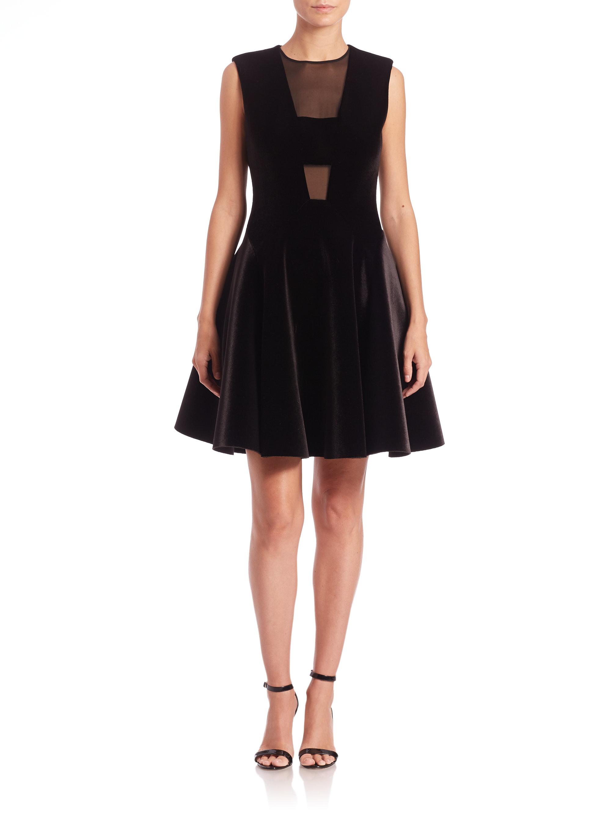 Dkny Velvet Fit Amp Flare Dress In Black Lyst