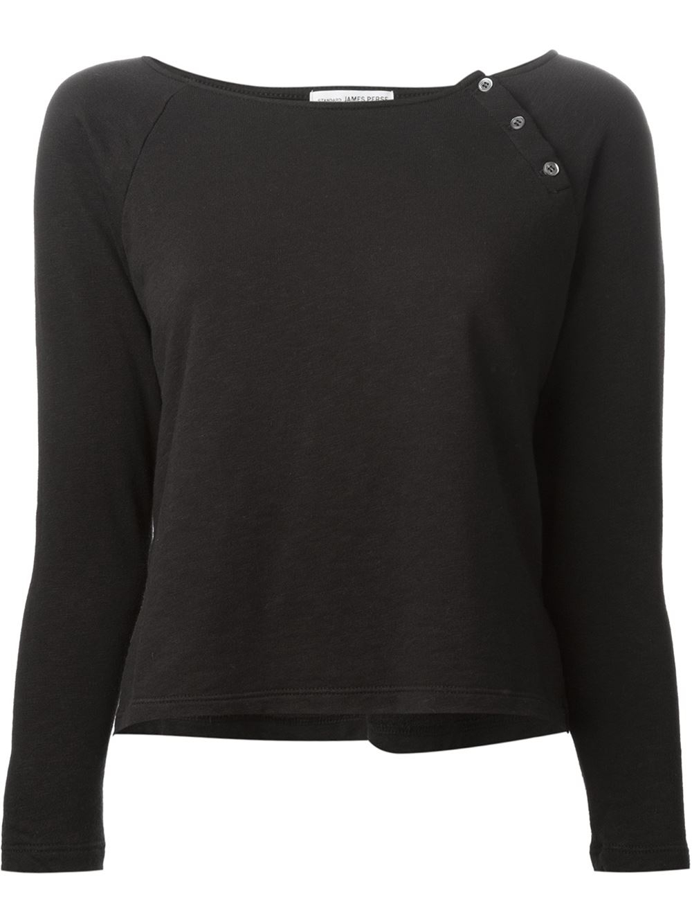 James perse black button detail longsleeved t shirt lyst for James perse t shirts sale