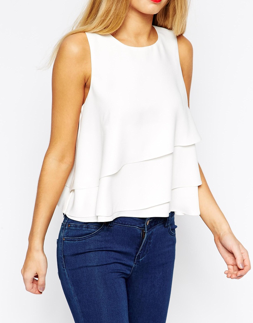 Lyst Asos Wrap Front Shell Top In White