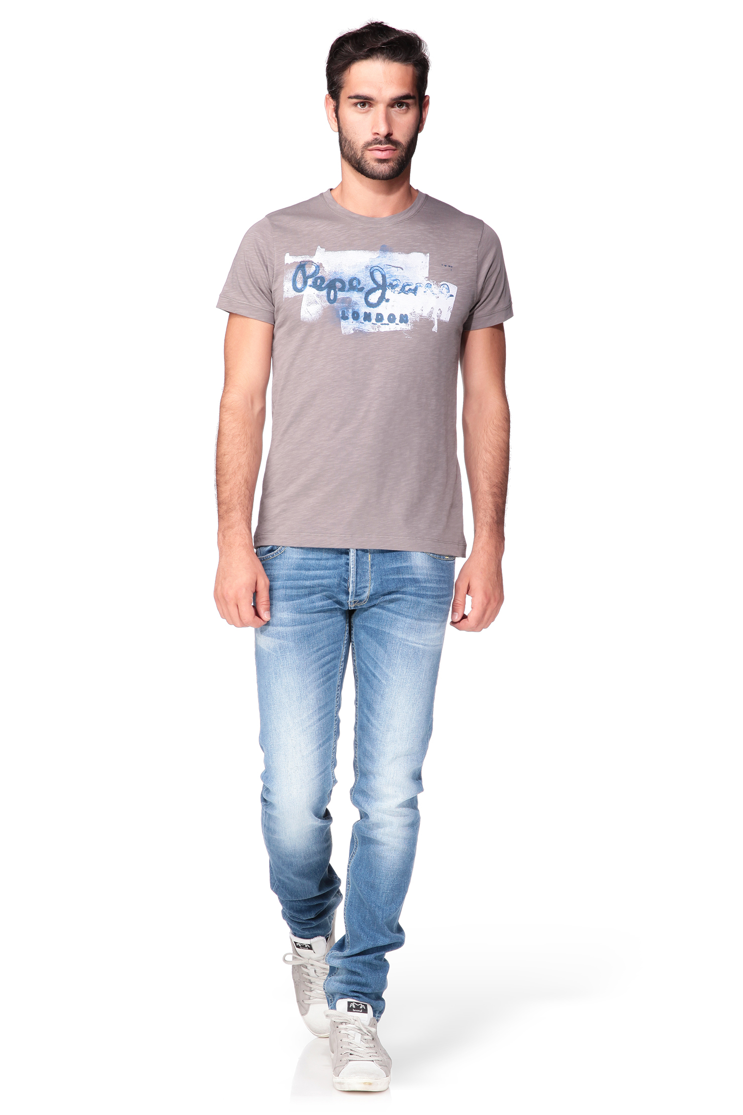 pepe jeans printed t shirt in gray for men lyst. Black Bedroom Furniture Sets. Home Design Ideas