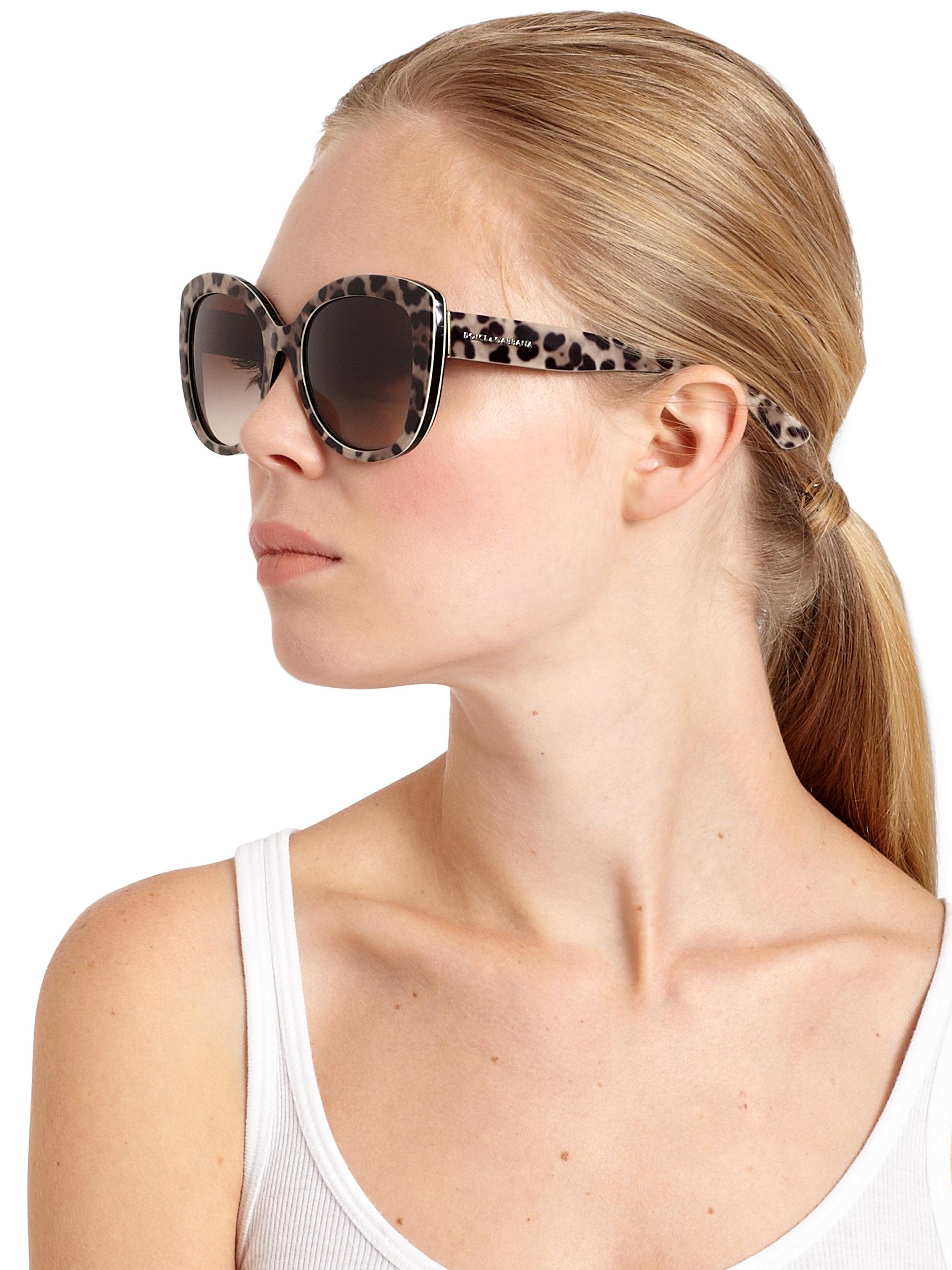 147b80fb7c57 Dolce & Gabbana Leopard-print 53mm Cat's-eye Sunglasses - Lyst