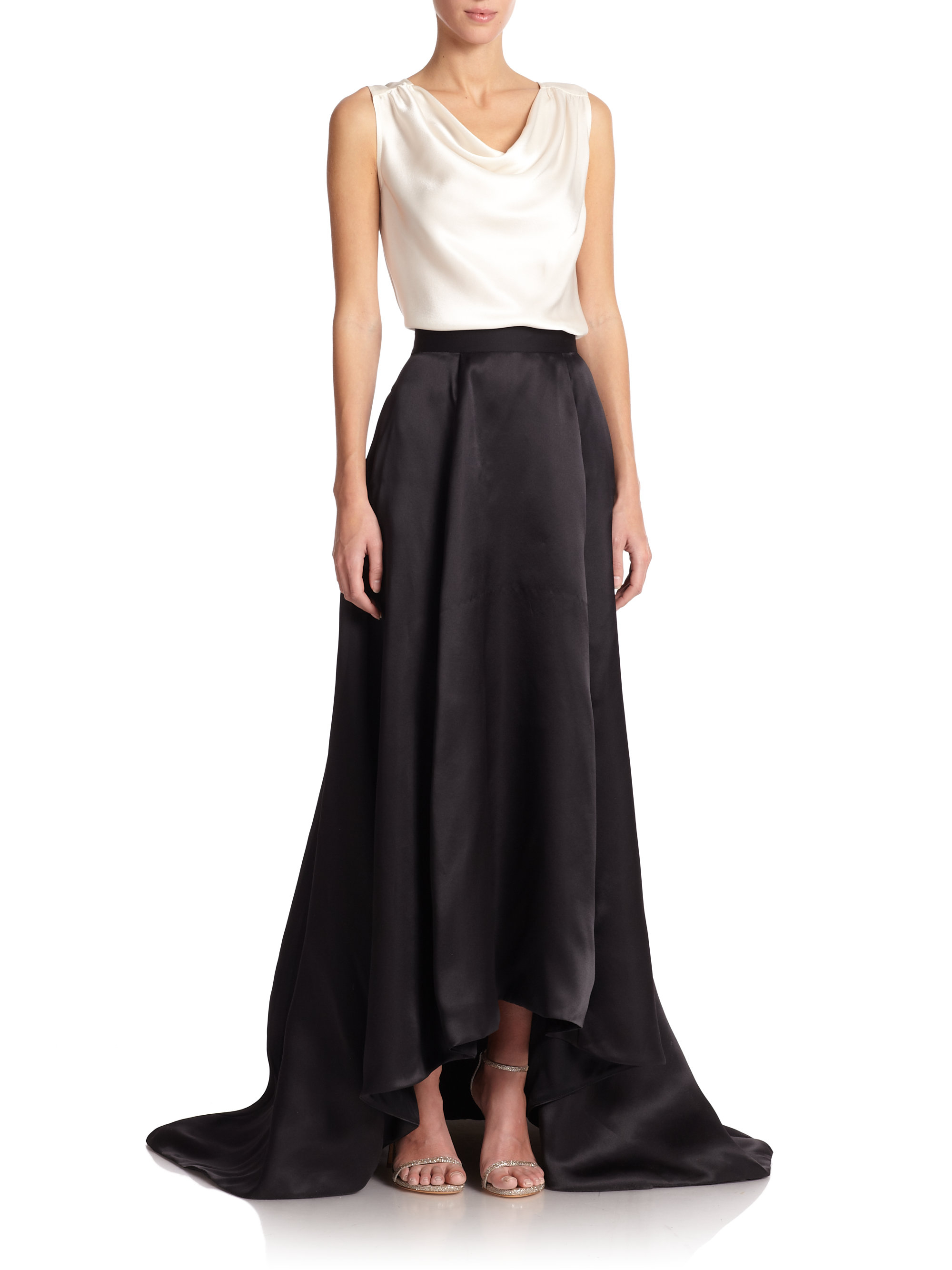 St. john Silk Satin Ball Gown Skirt in Black | Lyst