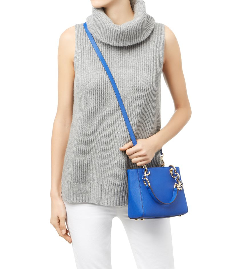 1abb0a9496a3 ... release date michael michael kors extra small cynthia satchel in blue  lyst ea575 9b035