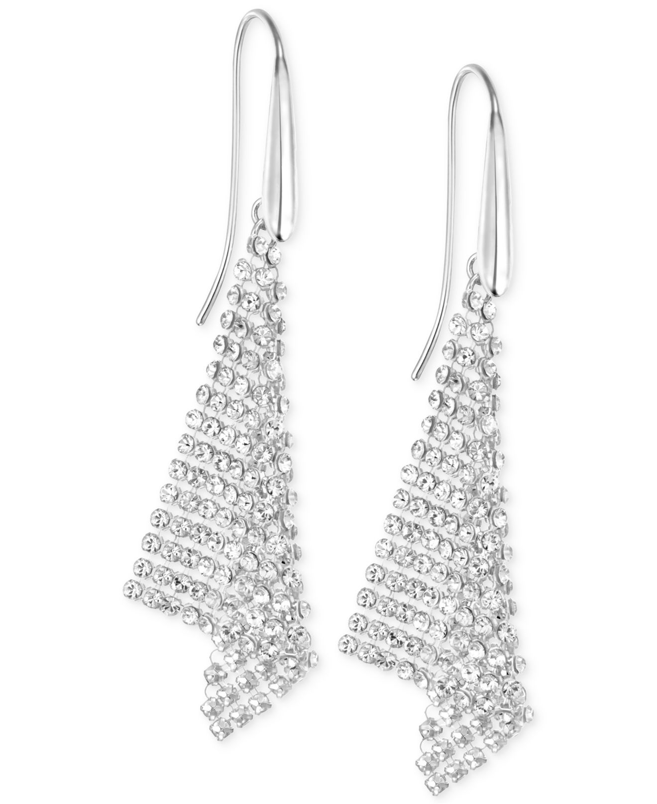 Lyst - Swarovski Silver-tone Crystal Mesh Drop Earrings in Metallic dd8a6ea32589