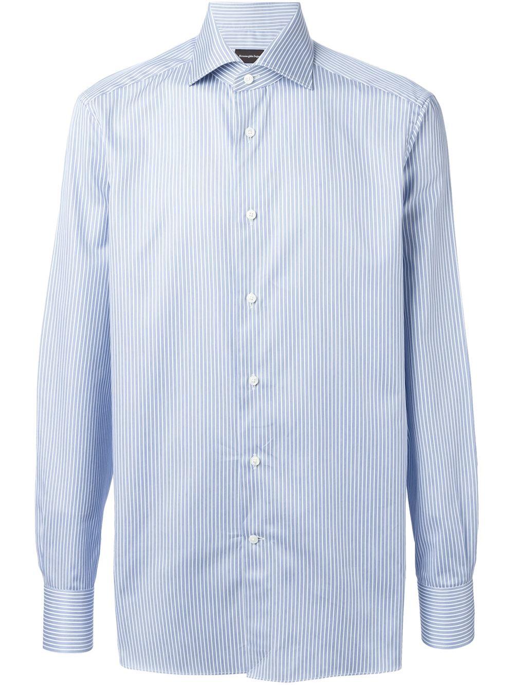 ermenegildo zegna 39 milano 39 striped shirt in blue for men lyst. Black Bedroom Furniture Sets. Home Design Ideas