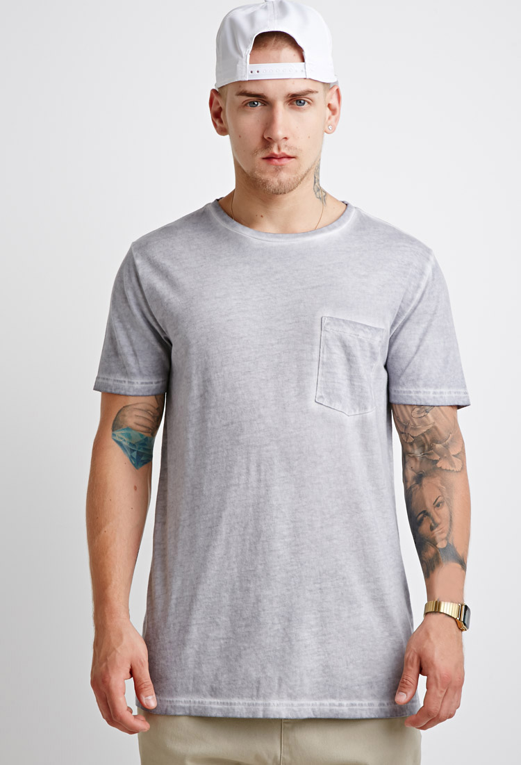 Lyst Forever 21 Faded Pocket Tee In Gray For Men