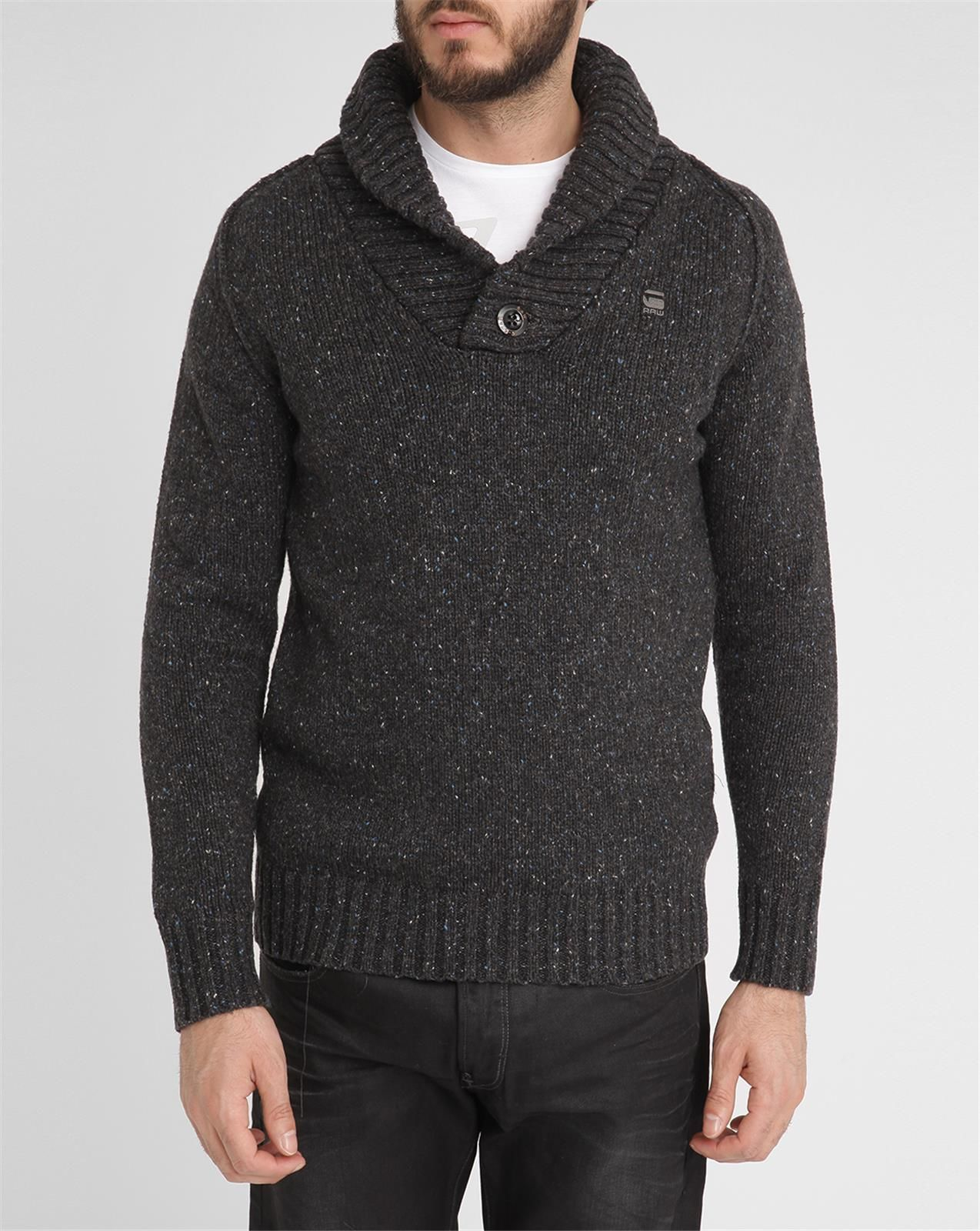 g star raw mottled charcoal bick shawl collar sweater in. Black Bedroom Furniture Sets. Home Design Ideas