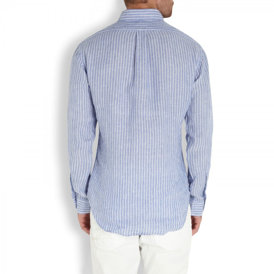 cd7cc28293af reduced polo ralph lauren striped linen shirt in white for men lyst c2f15  a5185