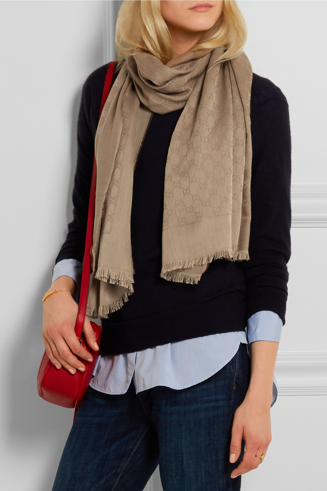Gucci Cotton jacquard Scarf in Sand Natural Lyst