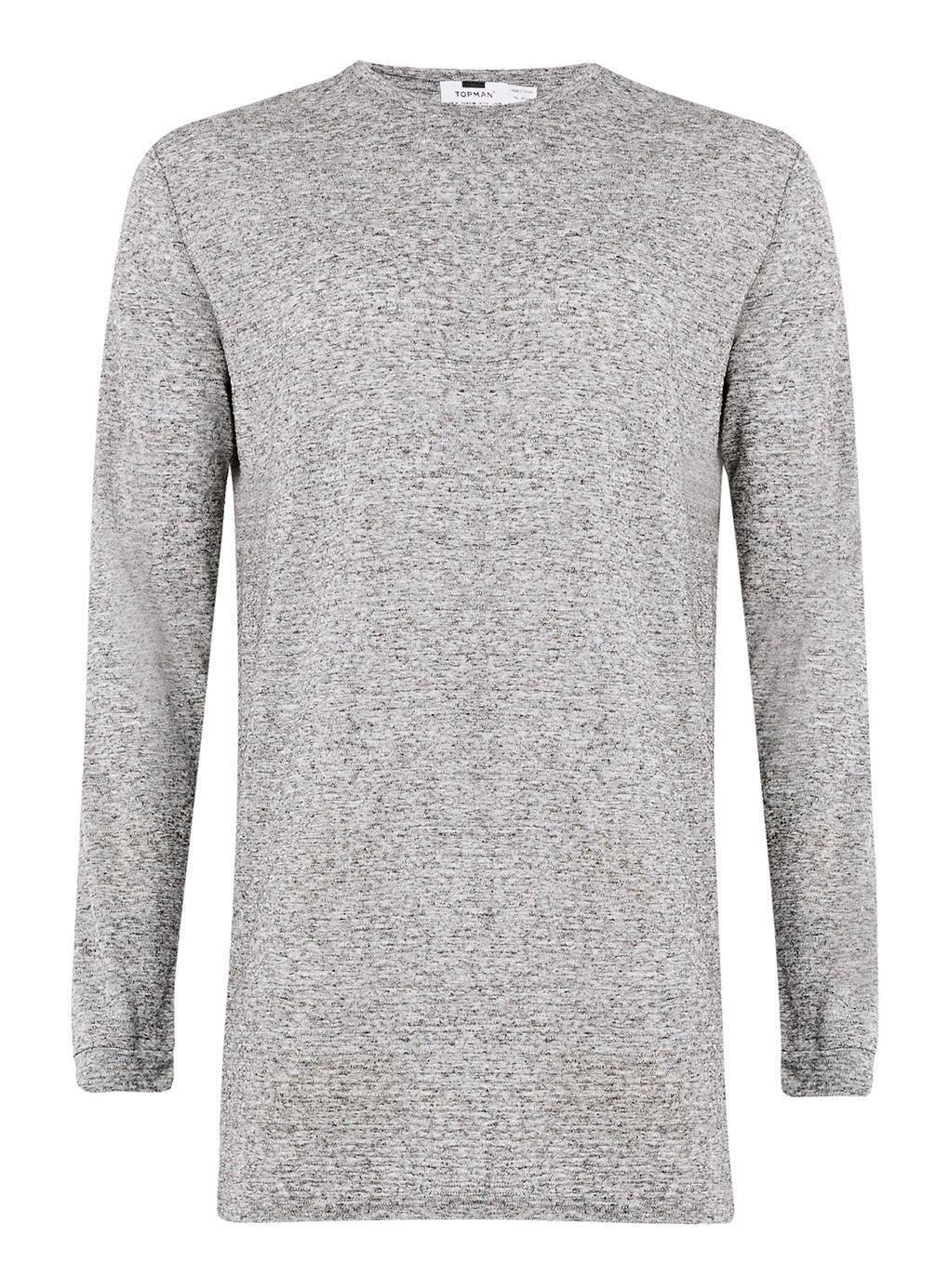 Lyst topman long sleeve ribbed long line t shirt in gray for Ribbed long sleeve shirt