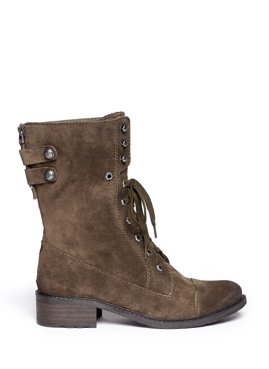 Sam Edelman Darwin Suede Lace Up Boots In Brown Lyst