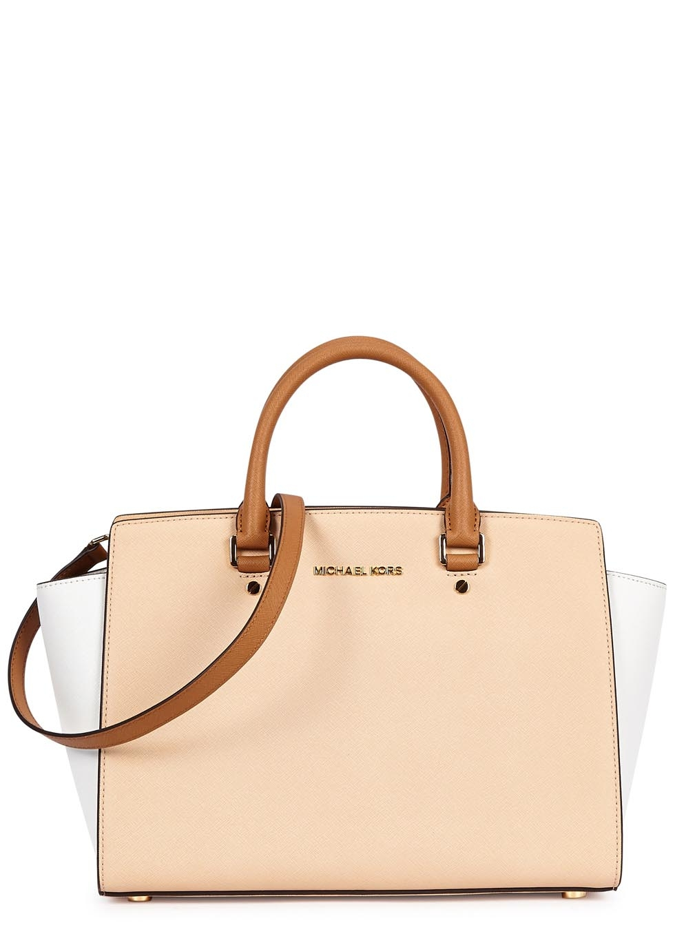 0ac5e39af869 Michael Kors Selma Large Peach Saffiano Leather Tote in White - Lyst