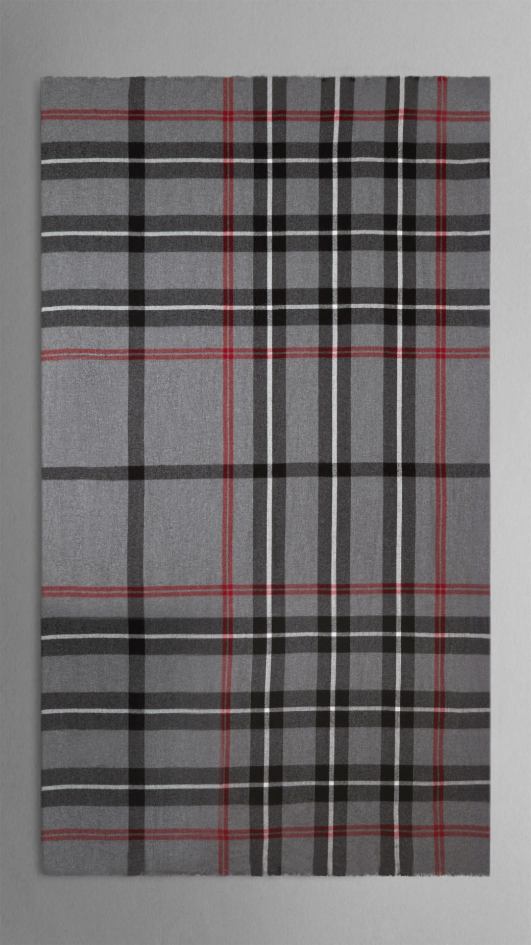 burberry check merino wool scarf in gray lyst