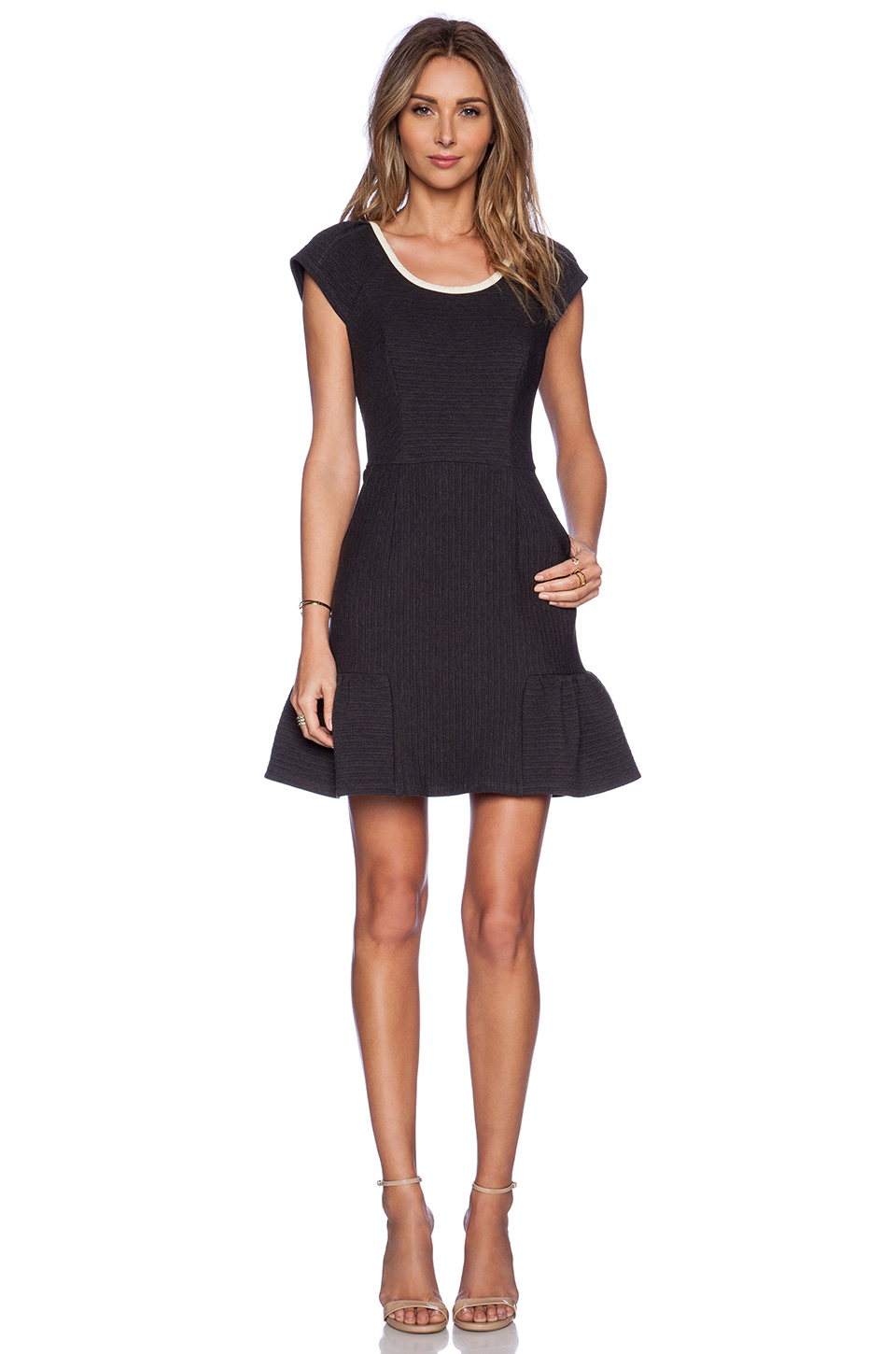 Harlyn Cut Out Back Fit Amp Flare Dress In Gray Lyst