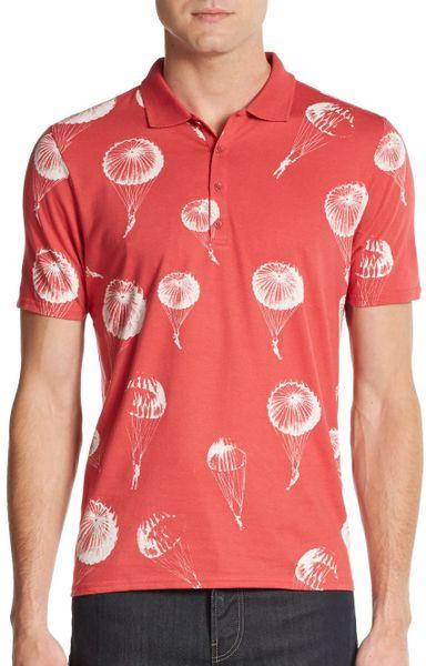 Ben Sherman Parachute Print Cotton Polo Shirt In Orange