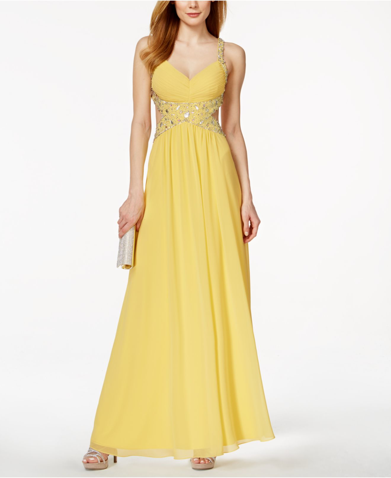 Lyst - Betsy & Adam Chiffon Cutout Embellished Gown in Yellow