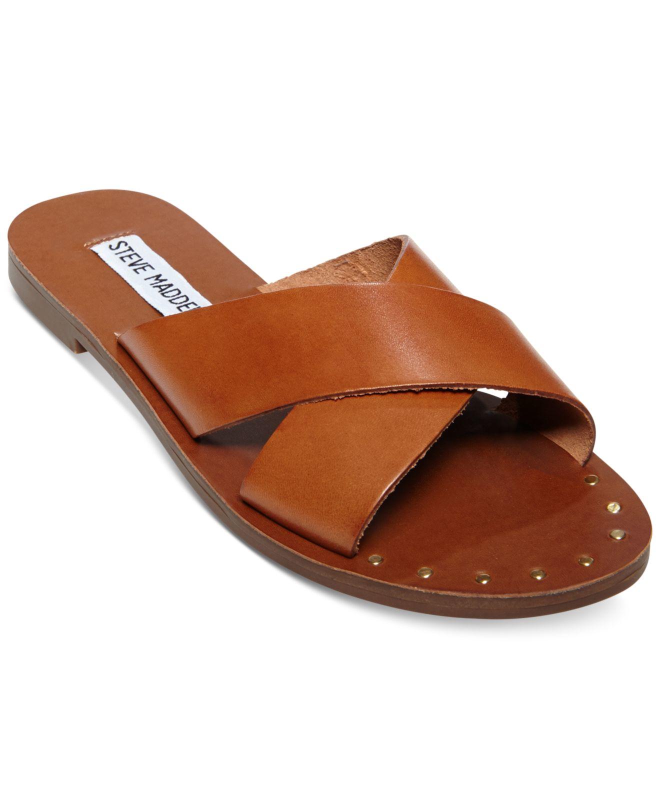 steve madden dryzzle crisscross sandals in brown lyst. Black Bedroom Furniture Sets. Home Design Ideas