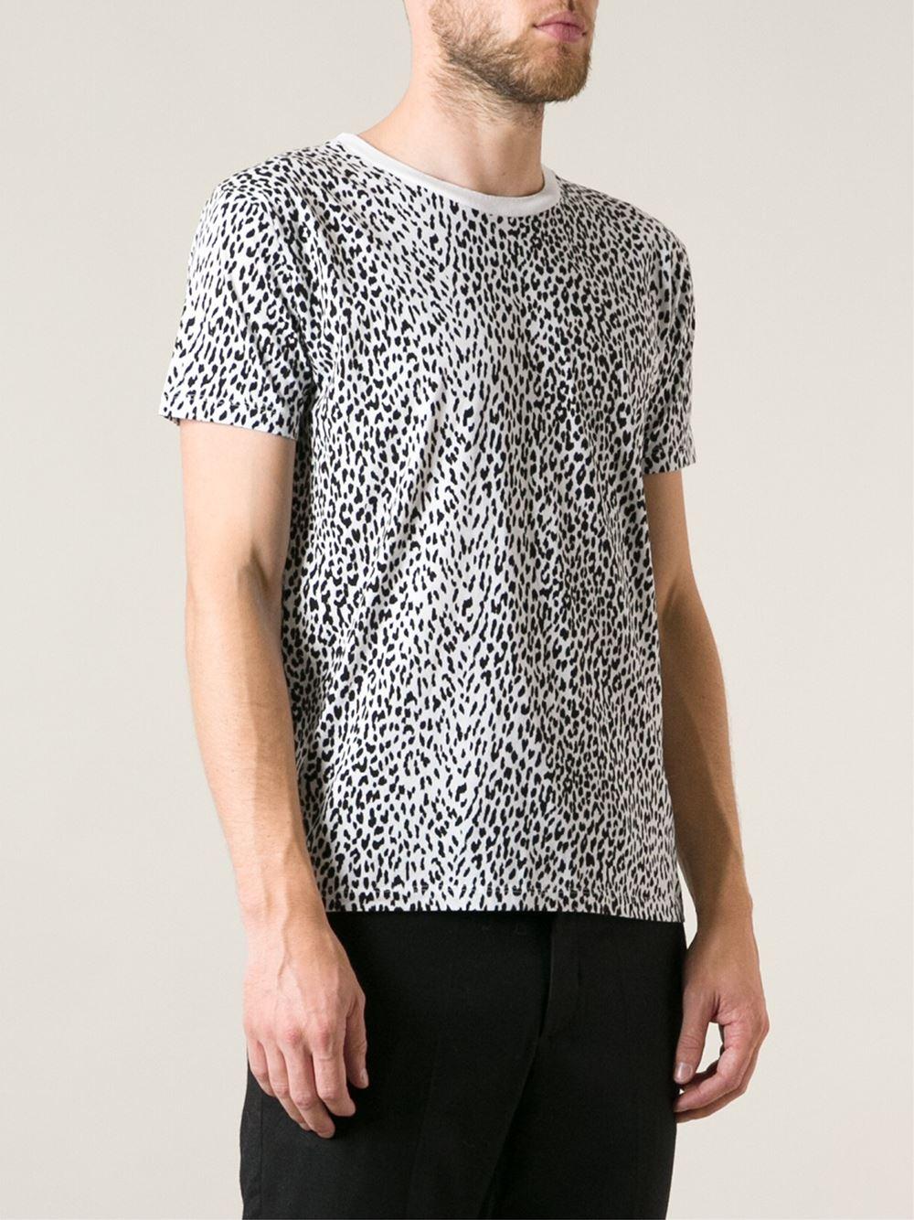 dd0a1f5841 Saint Laurent Leopard Print Tshirt in White for Men - Lyst
