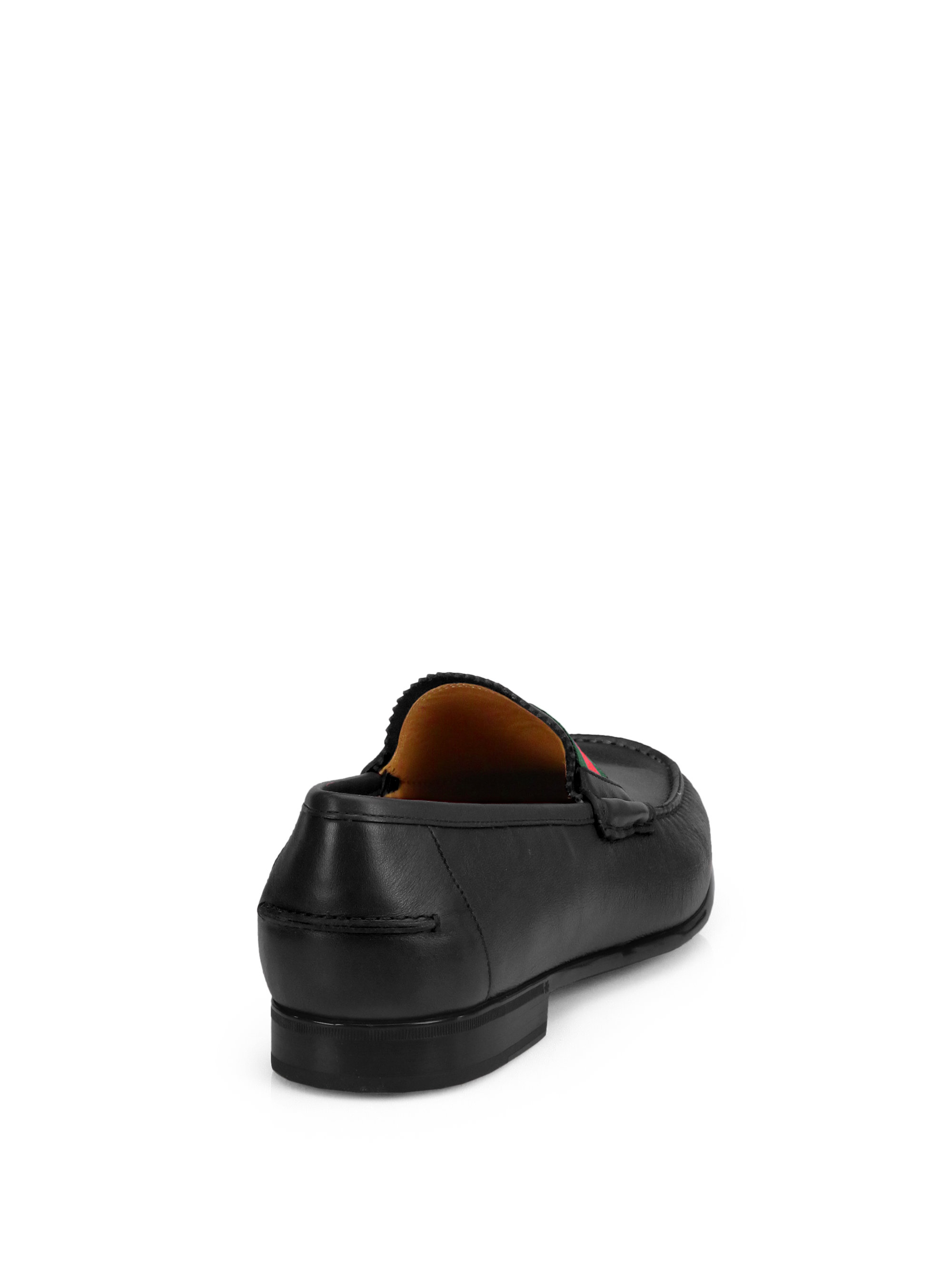 f72a802f7f2 Lyst - Gucci Frederik Leather Loafers in Black for Men