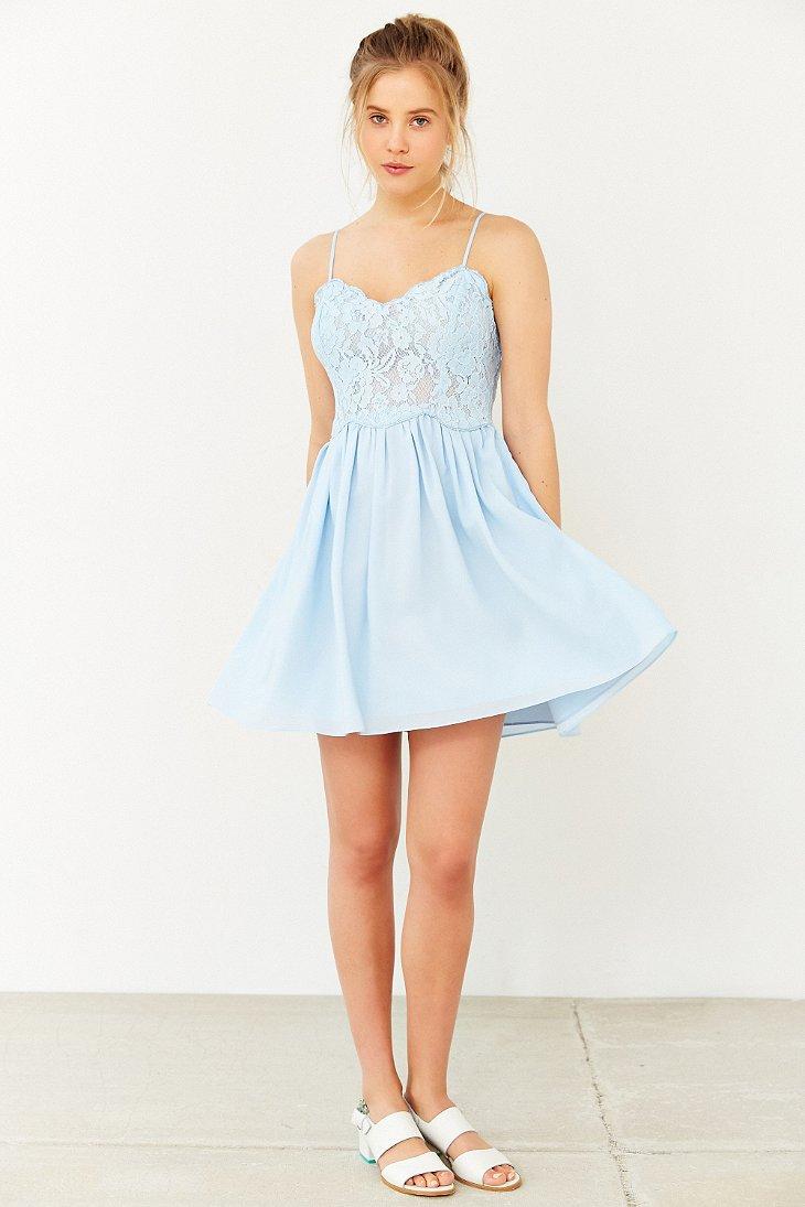 Kimchi Blue Spaghetti Strap Lace Dress In Blue Lyst