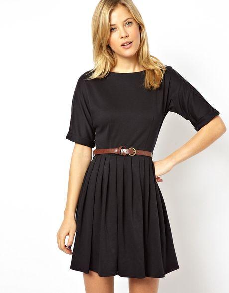 asos skater dress with skirt and belt in blue navy