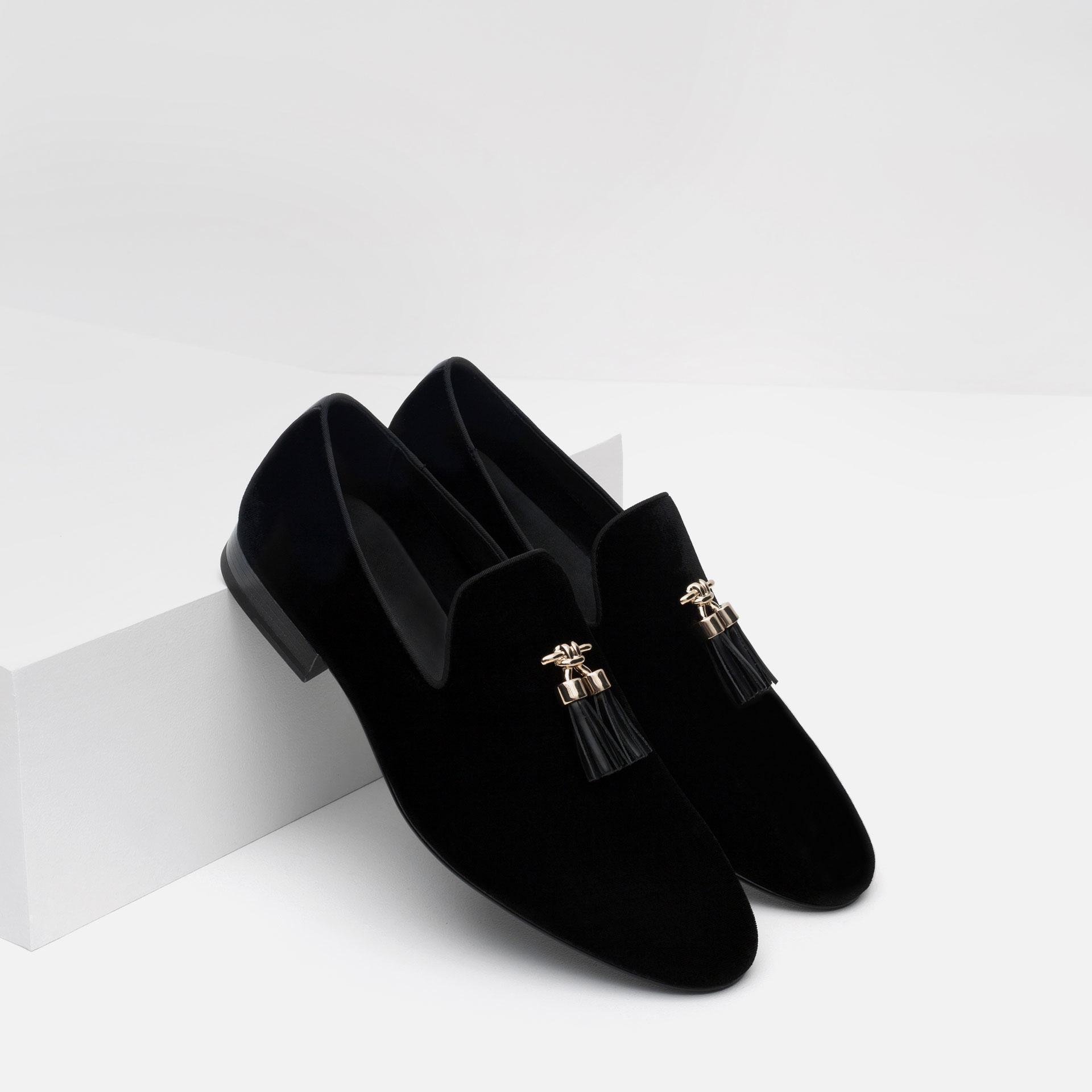 Zara Blue Velvet Shoes